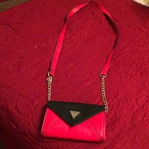 Guess red & black leather crossover small purse!